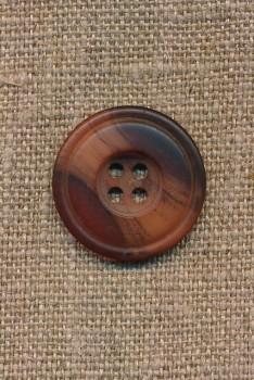 4-huls knap meleret i brændt orange, 23 mm.