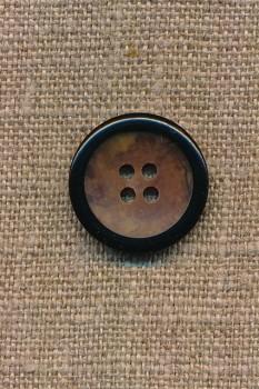 4-huls knap brun meleret med sort kant, 20 mm.