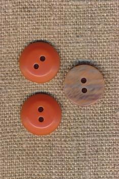 2-huls knap orange - beige meleret 15 mm.