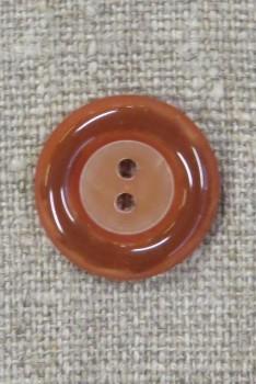 2-huls knap i brændt orange med blank kant, 20 mm.