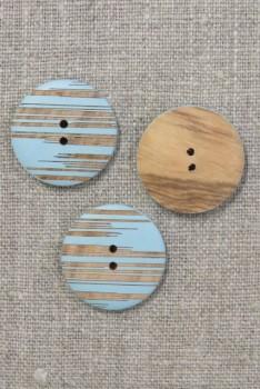 Knap i træ lyseblå- aqua med striber 25 mm.