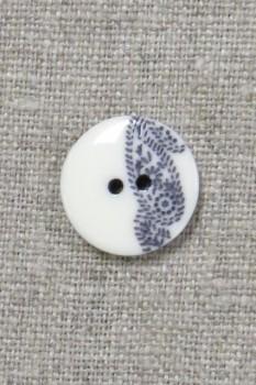 2-huls knap med sjals-/ Paisley mønster i off-white og blå 15 mm.