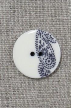 2-huls knap med sjals-/ Paisley mønster i off-white og blå 23 mm.
