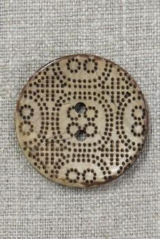 Træ-knap med mønster 34 mm.