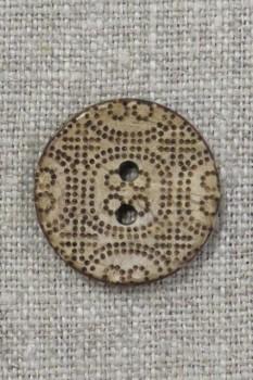 Træ-knap med mønster 23 mm.
