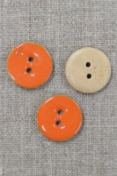 Rund træ-knap m/emalje, orange 20 mm.