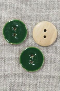 Rund træ-knap m/emalje, græsgrøn 20 mm.