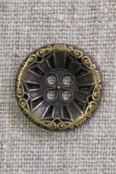 4-huls knap i gl. guld med mønster, 20 mm.