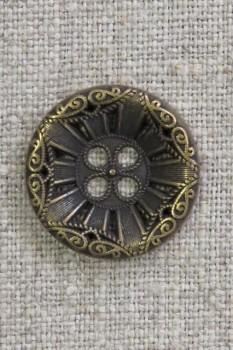 4-huls knap i gl. guld med mønster, 23 mm.