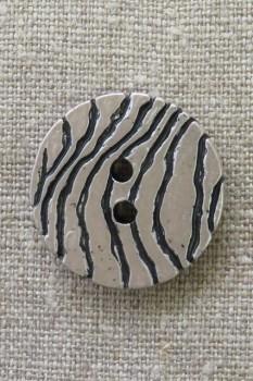 2-huls knap i sølv-look med zebra-striber 30 mm.