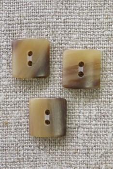 Firkantet 2-huls knap i beige/brun meleret 14 mm.