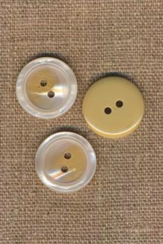 2-huls knap blank i offwhite-beige, 20 mm.