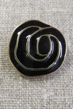 Knap i sort og guld i rose-look, 25 mm.