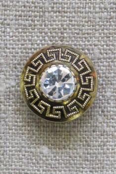Knap i guld med Græsk mønster og simili sten, 20 mm.