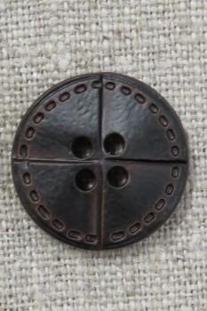 Mørkebrun læder-look knap, 20 mm.