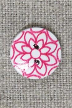 Knap træ rund hvid med pink blomst, 15 mm.