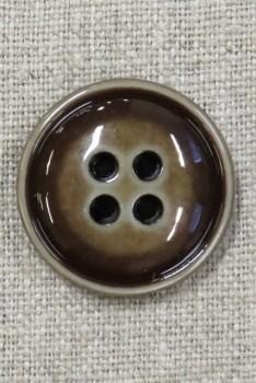 Blank 4-huls knap meleret i brun 28 mm.