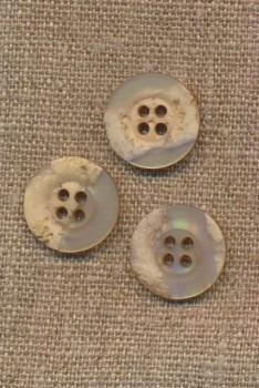 4-huls knap krakeleret beige/pudder, 18 mm.