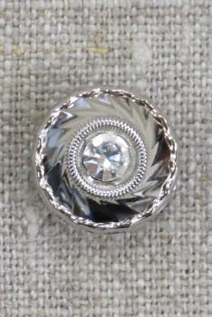 Rund facetslebet sølv knap med simili sten 15 mm.