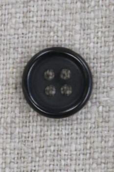 4-huls knap i sort 13 mm.