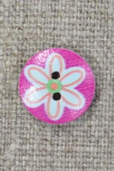 Knap træ rund i pink med lyseblå blomst, 15 mm.