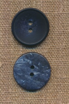 2-huls knap meleret i mørkeblå og denim, 22 mm.
