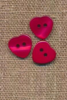 Hjerte knap i rød, 12 mm.