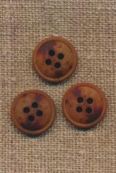 4-huls knap meleret brun mørkebrun og rust, 15 mm.