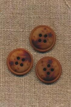4-huls knap meleret brun mørkebrun og rust, 18 mm.