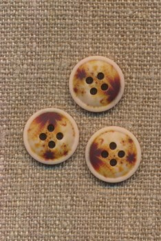 4-huls knap meleret natur brun gylden 15 mm.