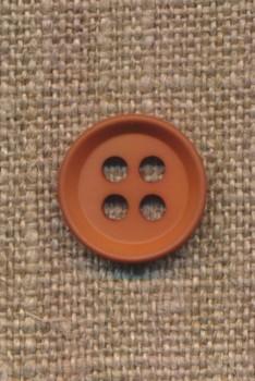 4-huls knap i rød-brun 15 mm.