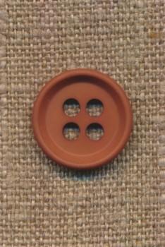4-huls knap i rød-brun 18 mm.