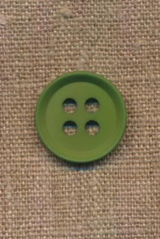 4-huls knap i grøn 15 mm.