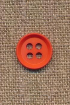 4-huls knap i orange 15 mm.