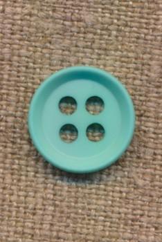 4-huls knap i aqua 15 mm.