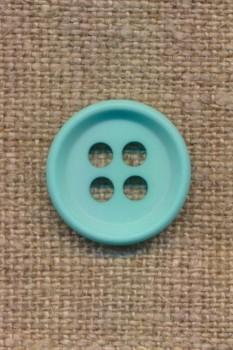 4-huls knap i aqua 18 mm.