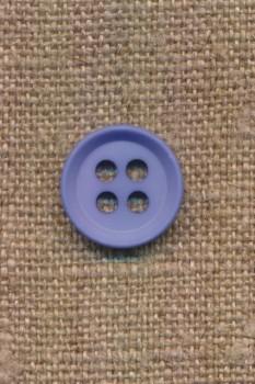 4-huls knap i lys blå 15 mm.
