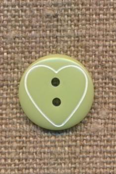 Knap med hjerte i lys grøn, 15 mm.