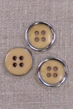 4-huls knap beige/gylden med sølv kant, 20 mm.