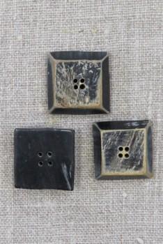 Horn-knap firkantet i sort 4-huls, 20 mm.