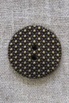 2-huls Gl.guld knap med prikker, 28 mm.