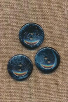 Recycled meleret 2-huls plast knap i mørkeblå og denim 20 mm.