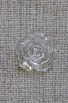 Knap med rose i klar, 18 mm.