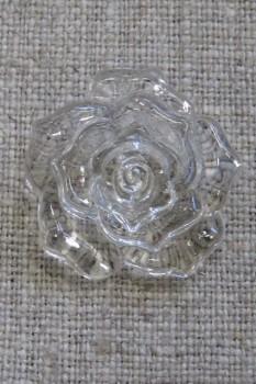 Knap med rose i klar, 25 mm.