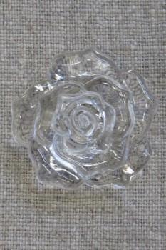 Knap med rose i klar, 34 mm.