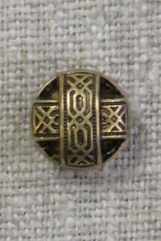 Rund gl.guld knap med bånd, 11 mm.
