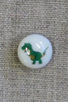 Rund knap i hvid med dinosaurus