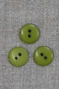 2-huls knap i lime-grøn 13 mm.