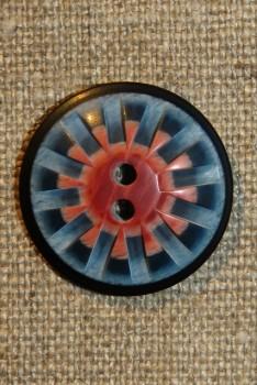 2-huls knap mønstret i denim blå rosa 25 mm.