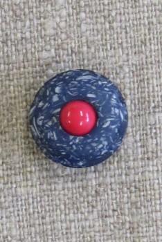 Rund knap i mørkeblå og blå meleret med rød midte, 18 mm.